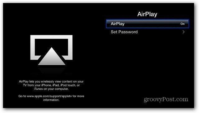 Turn AirPlay on Apple TV