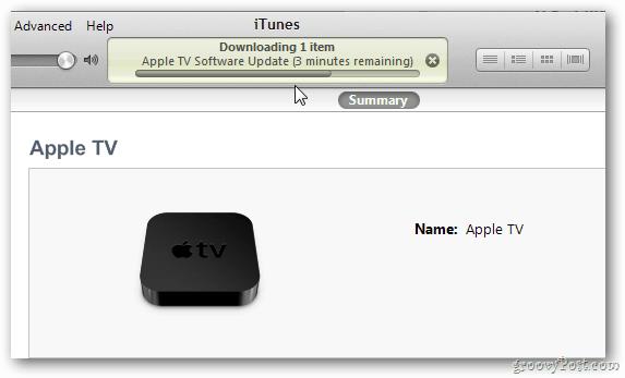 Upated Apple TV via iTunes