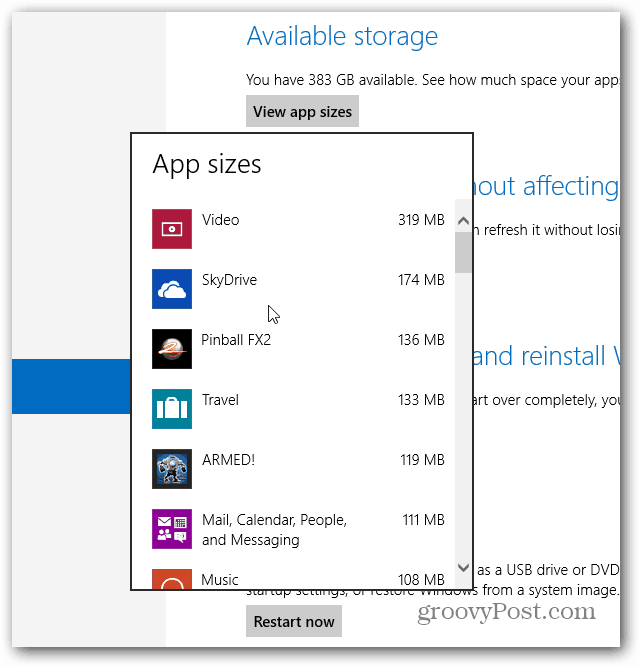 Windows App Sizes Displayed