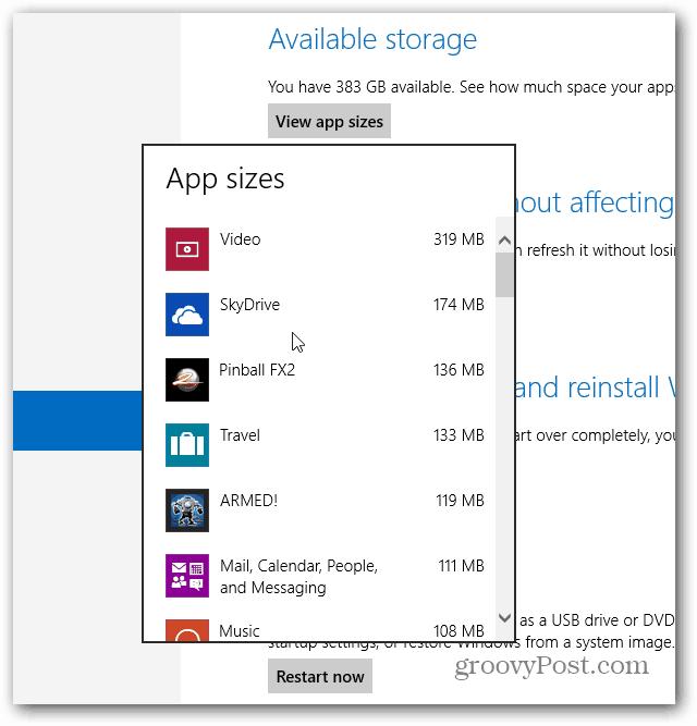 Windows App Sizes Displayed