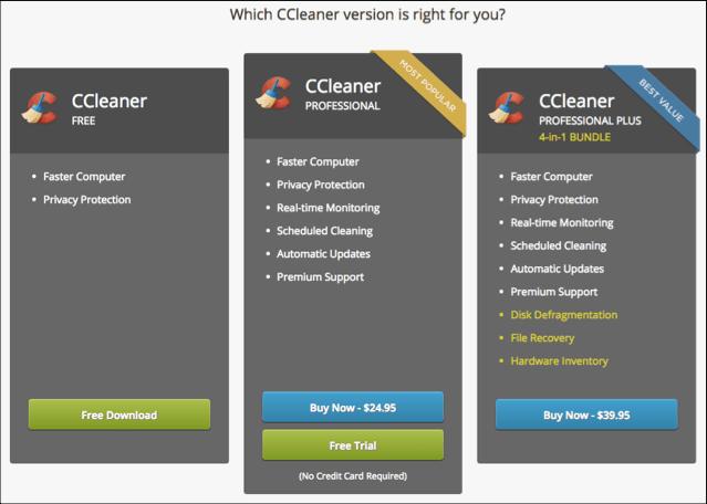 CCLeaner Plan Comparison