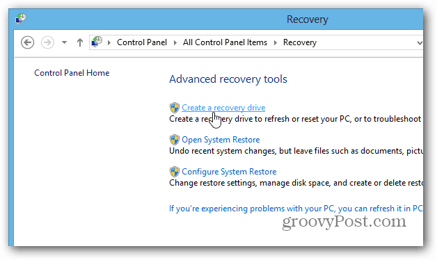 create recovery desktop