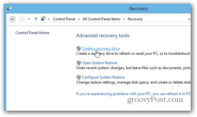 create recovery desktop