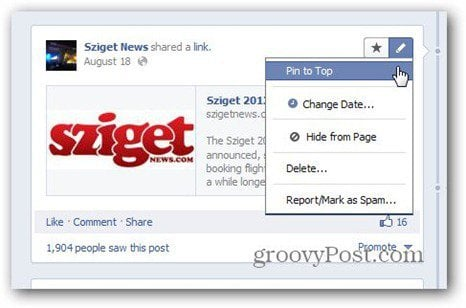 facebook pages pin to top menu