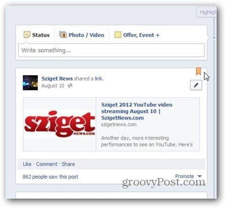 facebook pages pin to top