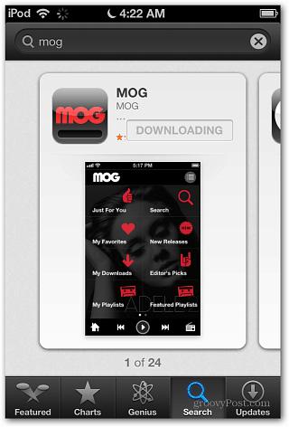 iOS 6 MOG App