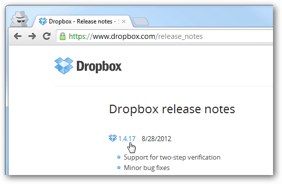 dropbox release notes for each version