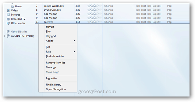 windows media player context menu