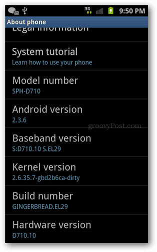 build number in about phone status