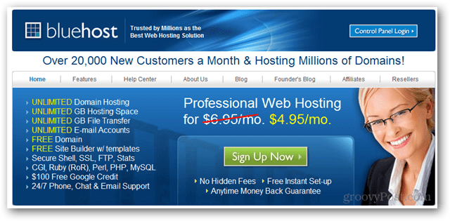 bluehost domain and web hosting