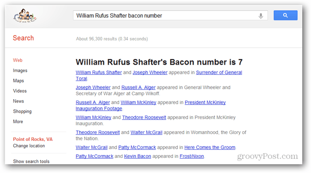 find the bacon number of any actor or actress using google