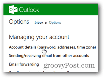 change outlook.com password - click account details