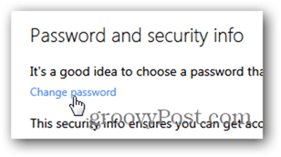 change outlook.com password - click change password