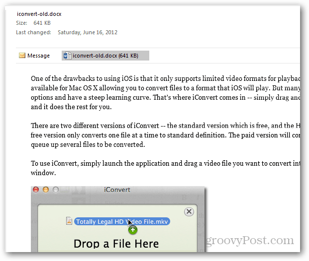 preview docs in outlook