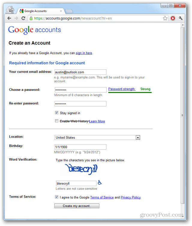 Create a Google Account Sans Gmail