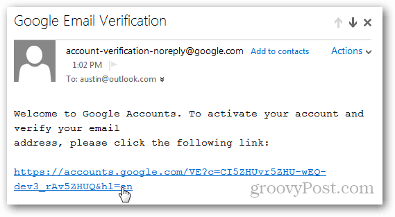 email verification link