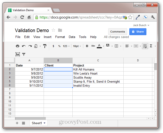 google docs cell validation