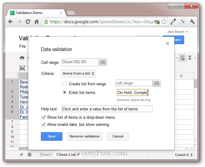 google xls xlsx data validation cells