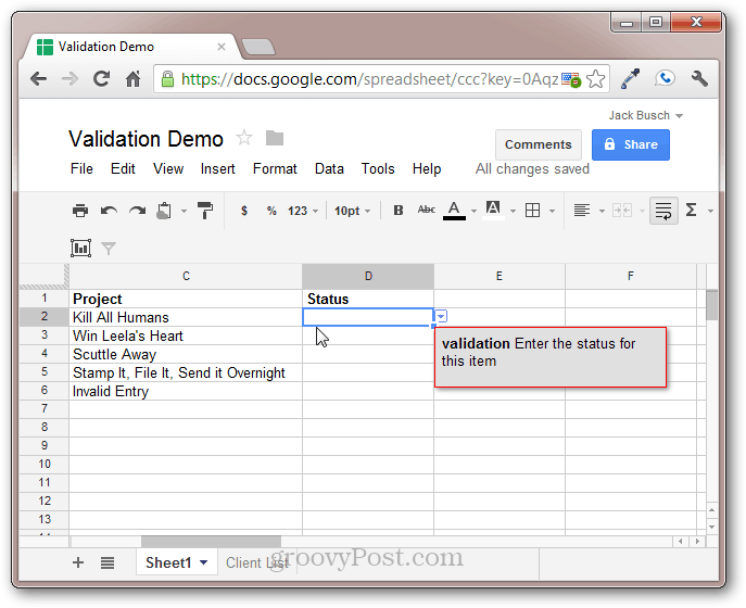 google docs validation of data