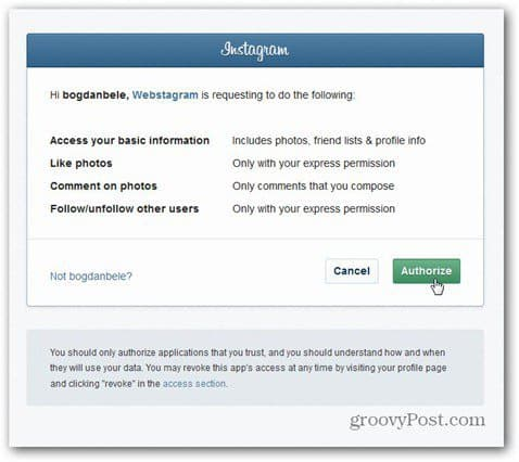 webstagram authorize