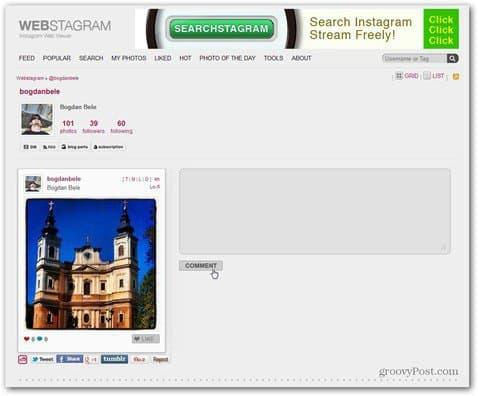 webstagram main page