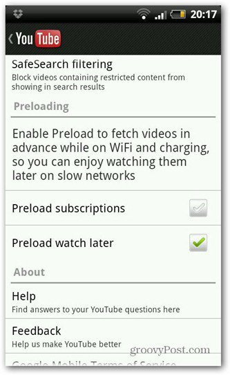 youtube android new version preload setting
