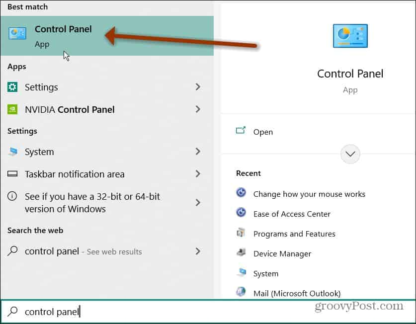 find Control Panel from Start
