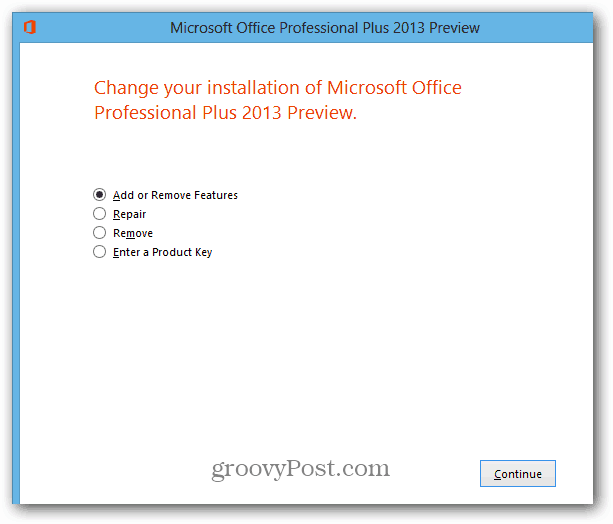 Add or Remove Office 2013 Features
