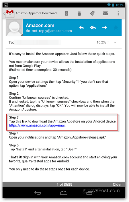 Amazon Email Link