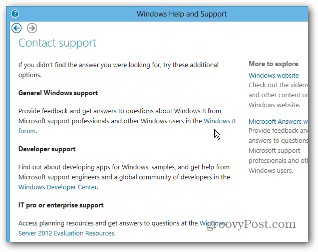 Contact Windows 8 Support Forums