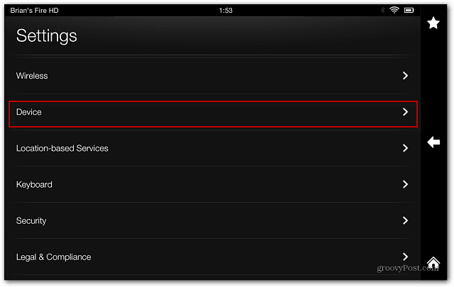 Kindle Fire HD Settings