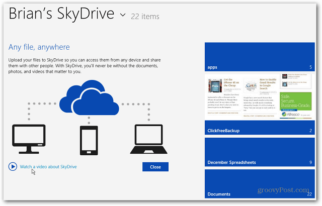 New SkyDrive Start Screen