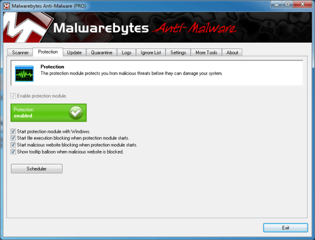 MBAM real-time malware protection