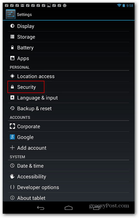 Settings and Security Android
