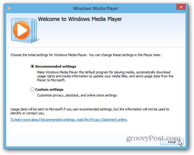 Setup Windows Media Player