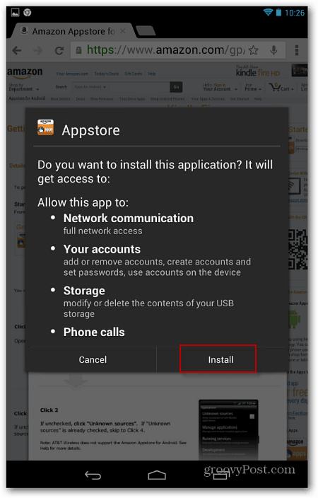 Start Install Amazon App Store