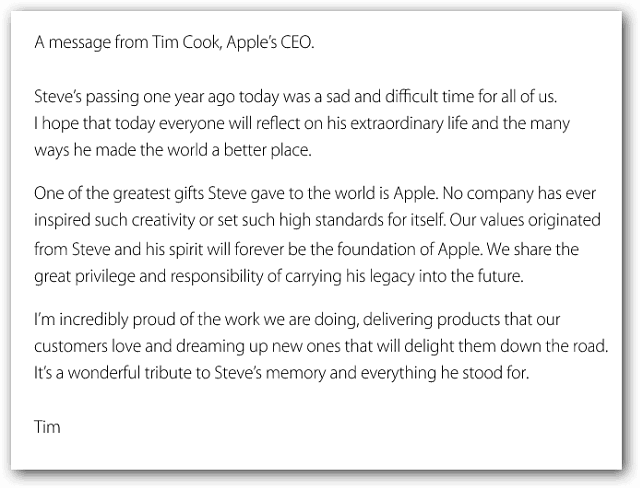 Time Cook Message about Steve Jobs