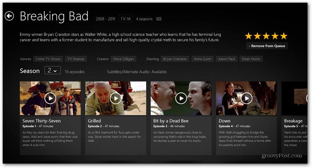 Windows 8 Netrlix App TV Series