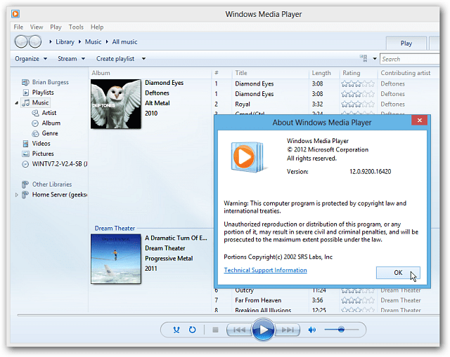 Windows Media Player on Windows 8 Desktop