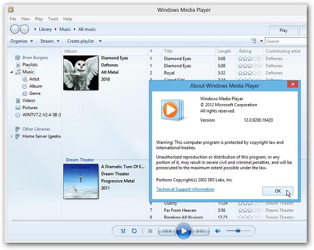 Windows Media Player on Windows 8 Desktop