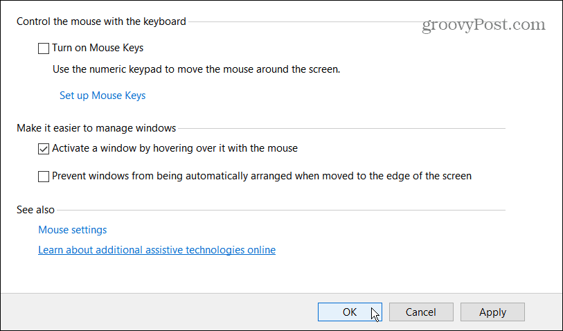 activate windows by hovering over it with mouse