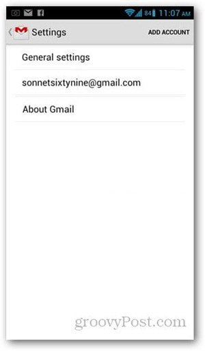 Android gmail add account