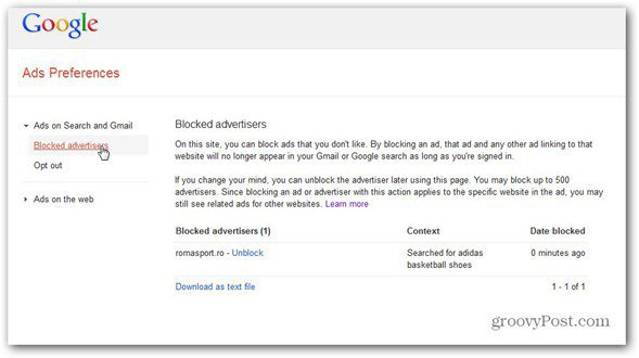 google ads preferences manager unblock advertiser