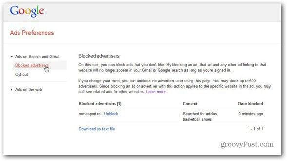 google ads preferences manager unblock advertiser