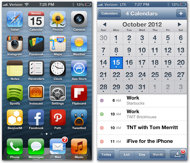 how to change calendar view on iphone 6
