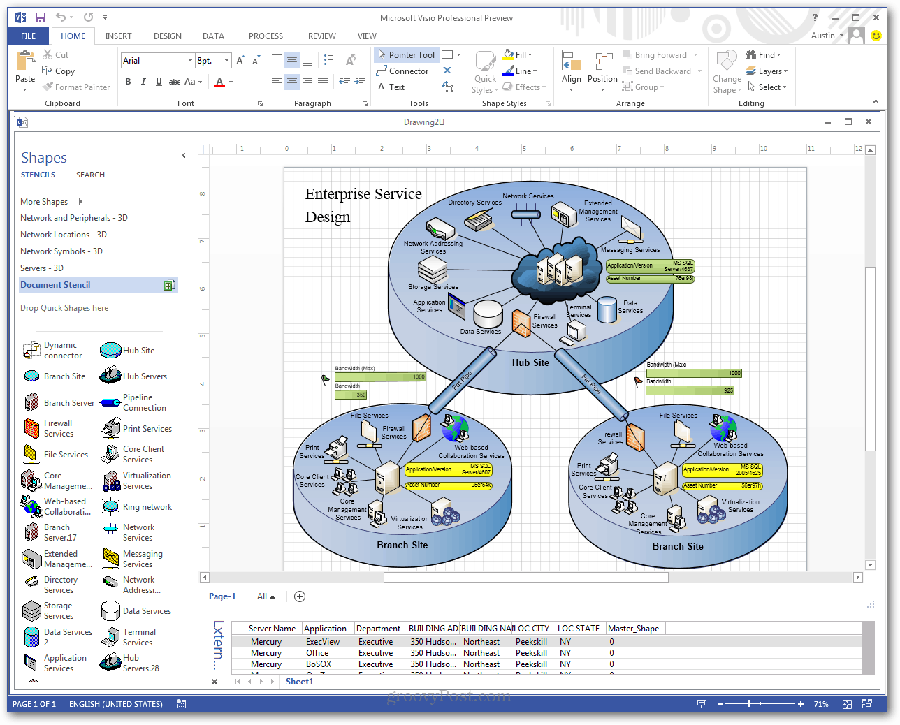 What is microsoft visio and what does it do groovypost this makes diagrams functional and current the most recent example ive seen involved using visio to monitor network status across a localized broadband ccuart Image collections