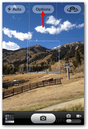 Take iPhone iOS Panoramic Photo - Tap Options