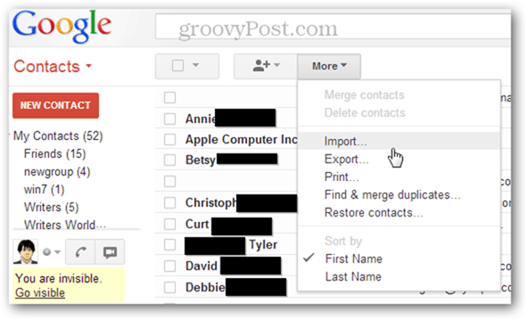 how to import multiple vcf files in gmail
