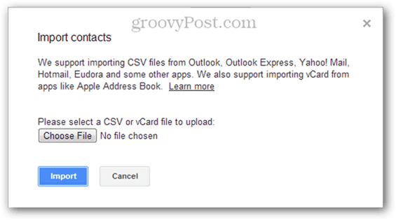 importing multiple csv contacts in google mail