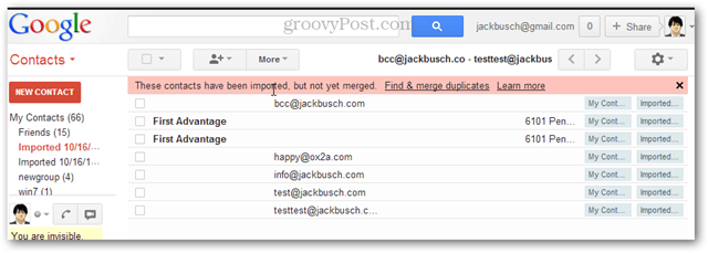 How to import many contacts into gmail at once
